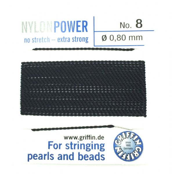 Griffin Bead Cord - Nylon Power - BLACK - Choose size of thread
